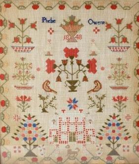 An early Victorian wool needlework sampler. 'Phebe