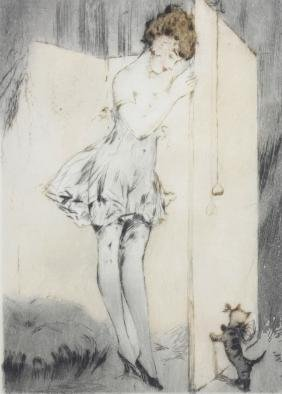 An early 20th century French coloured etching,