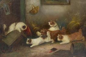 Oil on canvasInterior barn scene of ratting