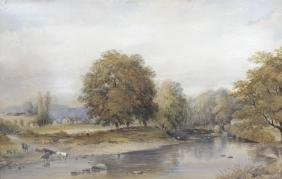 English School, (19th century), wooded river landscape