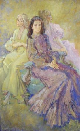 Irene Welburn (1910-2000)Portrait study of three seated