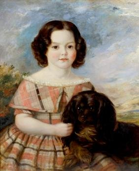 A Victorian portrait of a young girl with dog Depicted