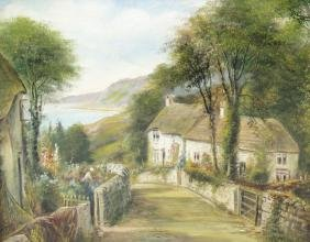 George Willis Pryce (1866-1949)'Devonshire Lane'Country