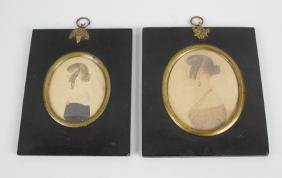 A 19th century oval painted portrait miniature, head