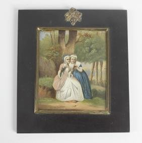 A 19th century miniature oil painting upon copper