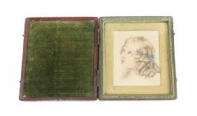 A 19th century watercolour on card, portrait miniature,
