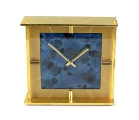 A Jaeger LeCoultre brass-cased mantel clock, circa