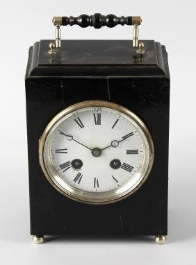 A late 19th century French ebonised travel clock, Japy