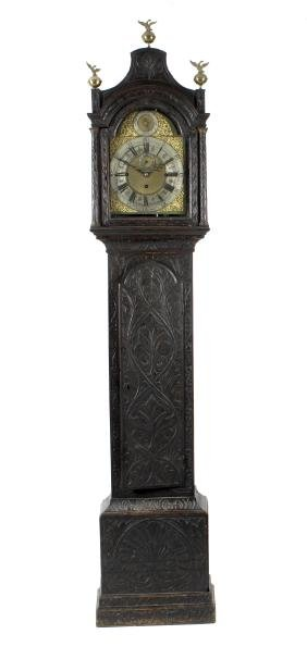 A mid 18th century and later oak-cased chiming longcase