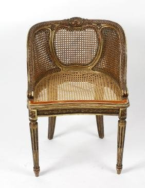 A small late 19th century French giltwood double-cane