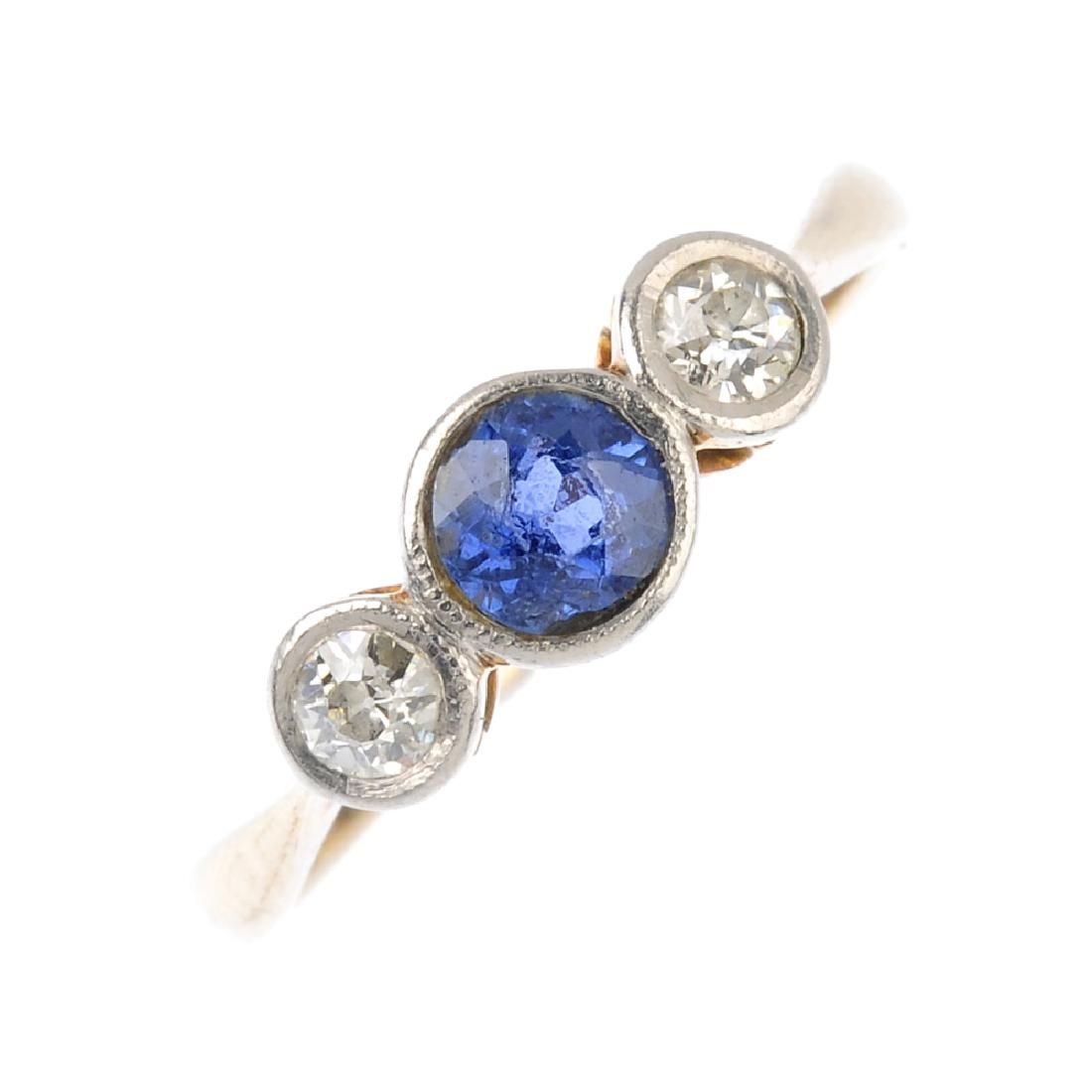 An early 20th century gold sapphire and diamond