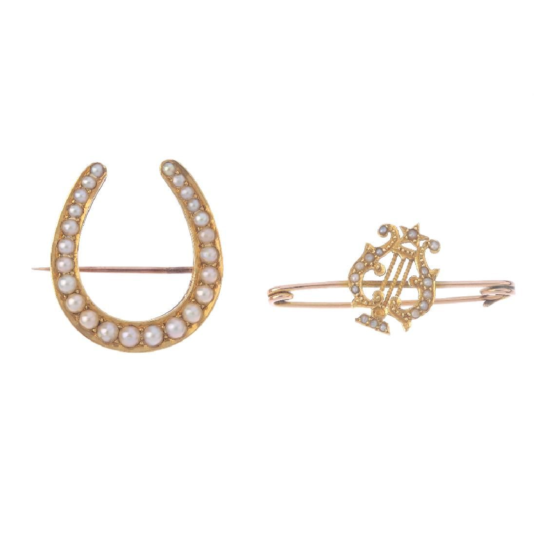 Two late Victorian gold split-pearl brooches. To