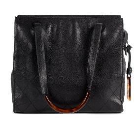Chanel - A Caviar Leather Handbag. The Black Leather