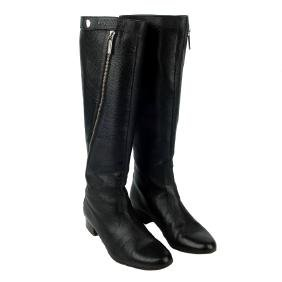 Chanel - A Pair Of Black Leather Zip-twist Knee-high