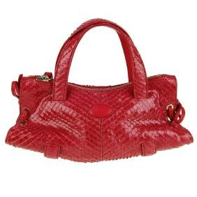 TOD'S - a small python skin handbag. Featuring a red