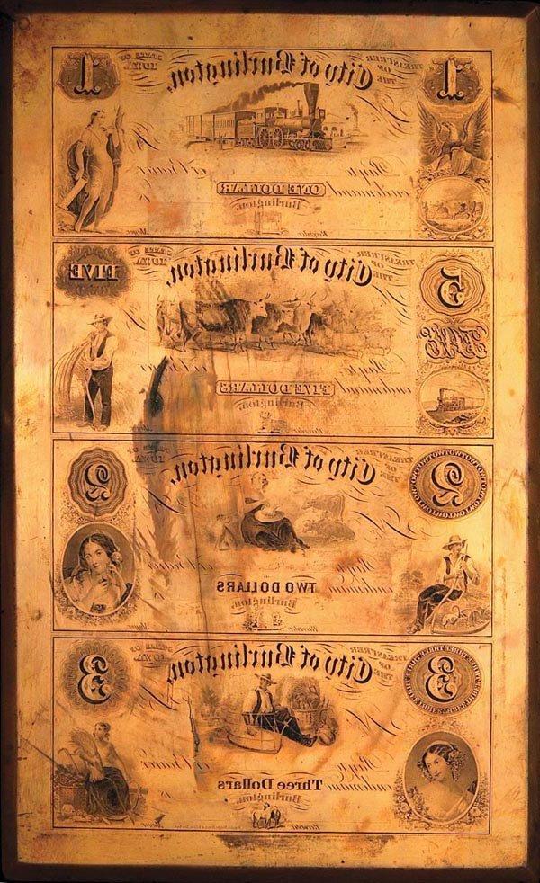 963: Burlington (Iowa) $1-$5-$2-$3 Currency Plate