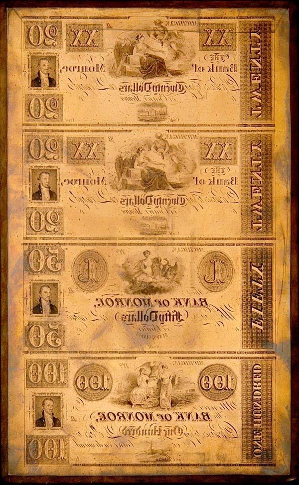 968: Bank of Monroe, Michigan $20-$20-$50-$100 Curren