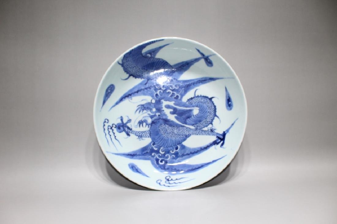 BLUE AND WHITE DRAGON GRAIN PLATE