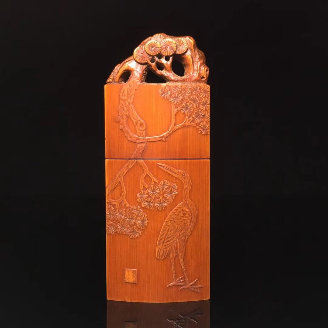 BAMBOO CARVED PINE AND CRANE TOOTHPICK BOX