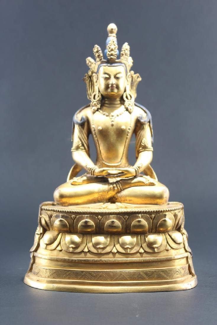 GILT BRONZE BUDDHA FIGURE