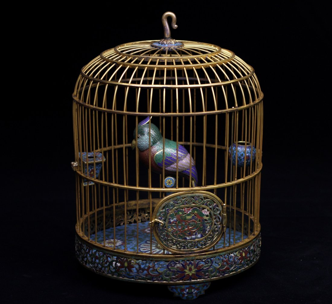 CLOISONNE ENAMEL BIRD CAGE