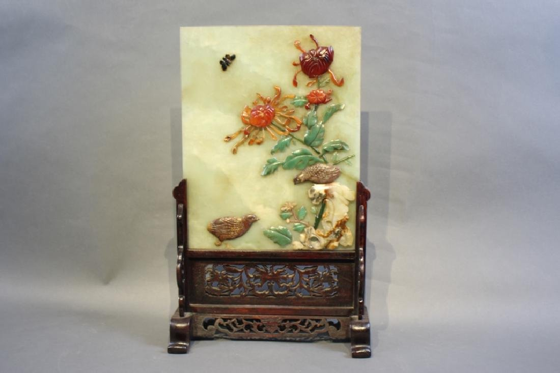 HETIAN JADE FLOWER AND BIRD TABLE PLAQUE