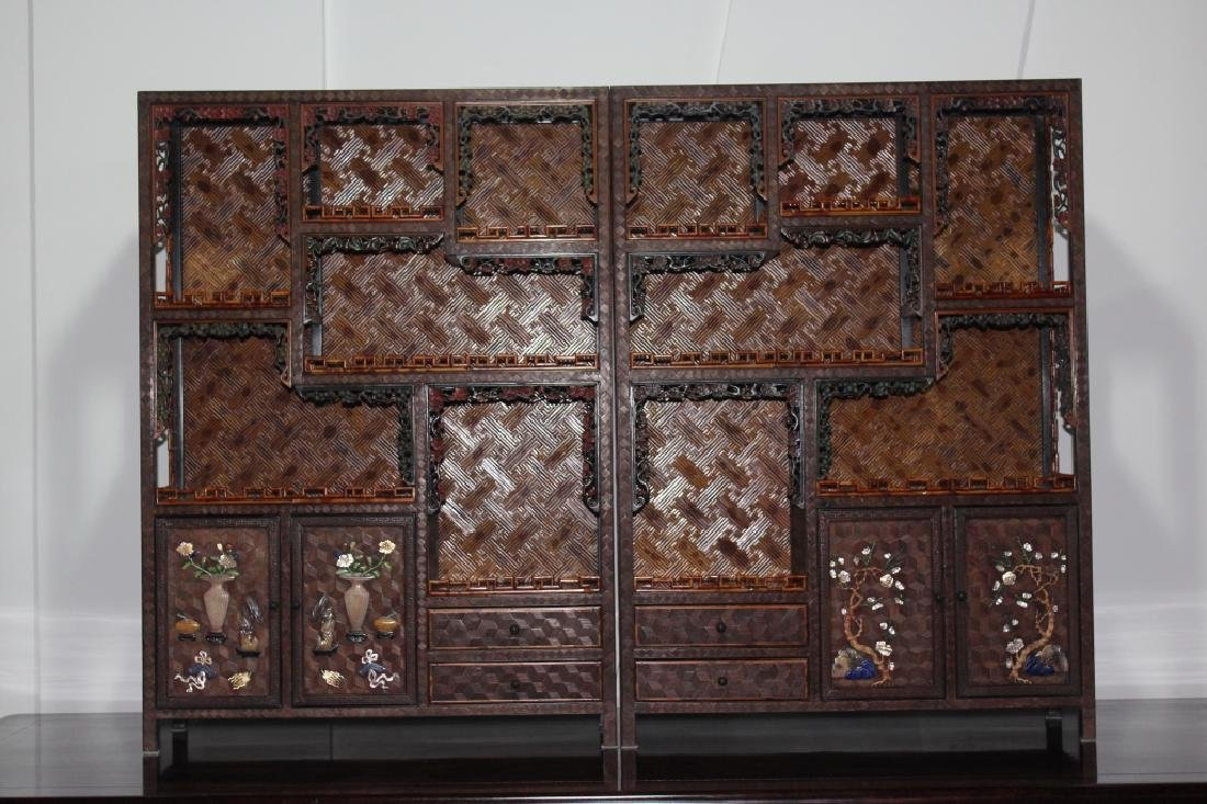 JADES INLAID MOTTLED BAMBOO OLD CABINETS (PAIR)