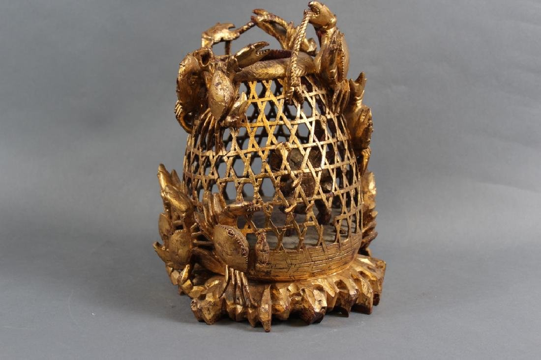 WOOD CARVED FISH BASKET WITH GOLD