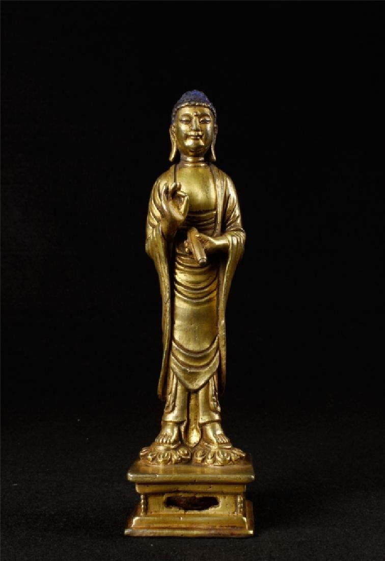 GILDING BRONZE BUDDHA FIGURE
