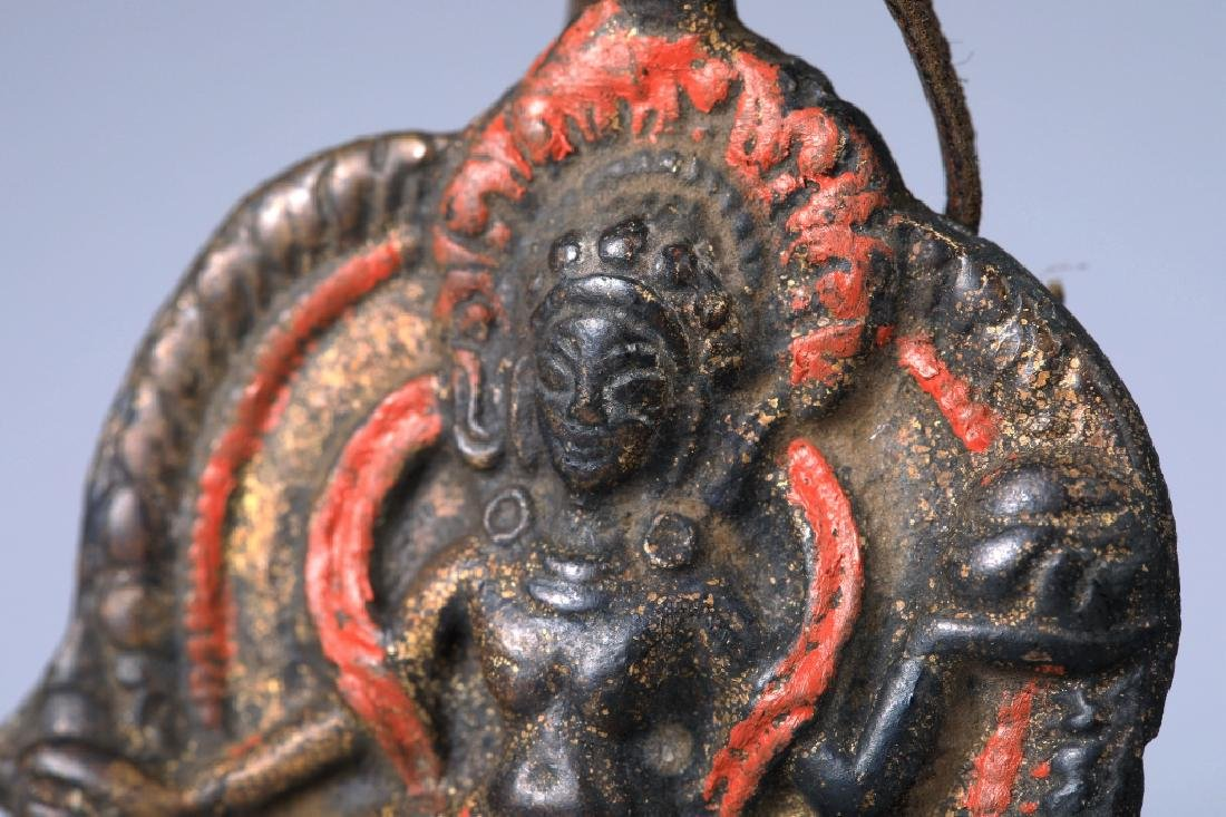 Tibetan Vajravarahi colored depict brass pendant - 3