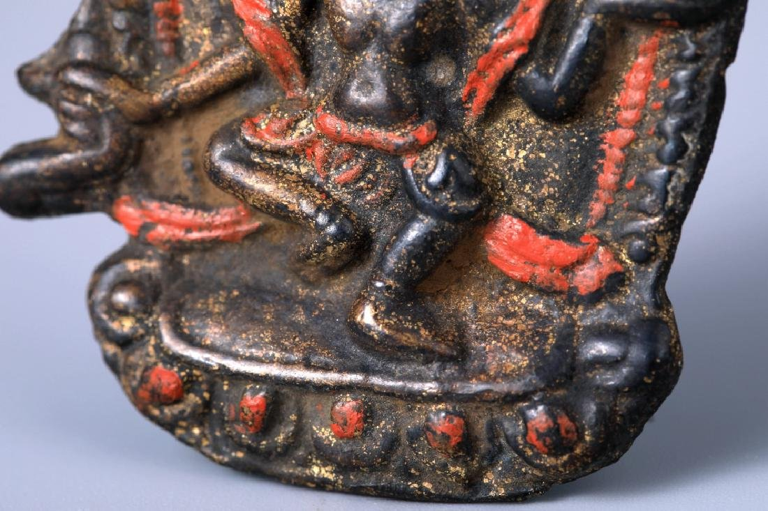 Tibetan Vajravarahi colored depict brass pendant - 4