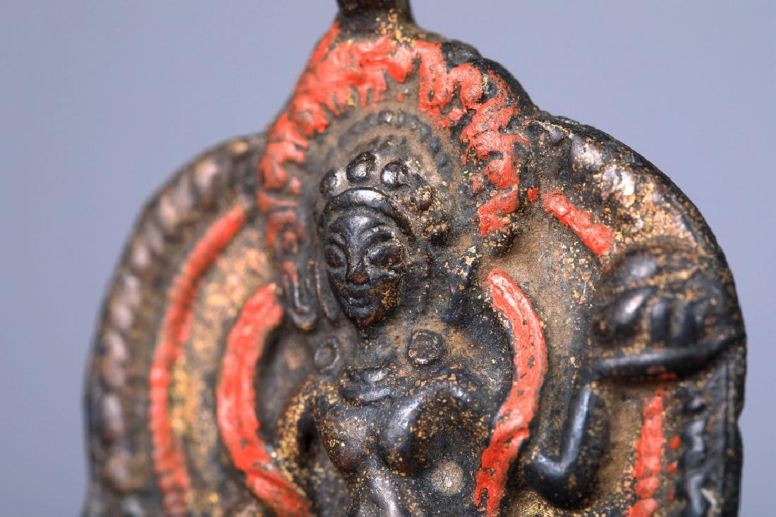 Tibetan Vajravarahi colored depict brass pendant - 8