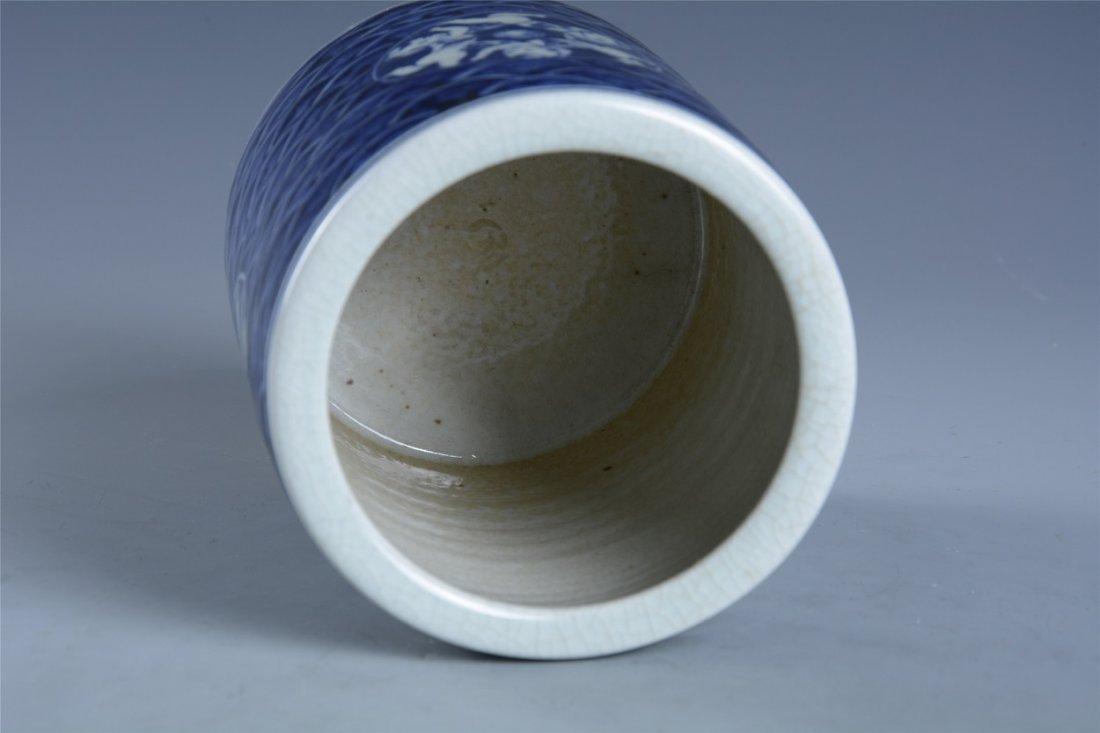 Blue and white boy play hydrangea pen holder - 6