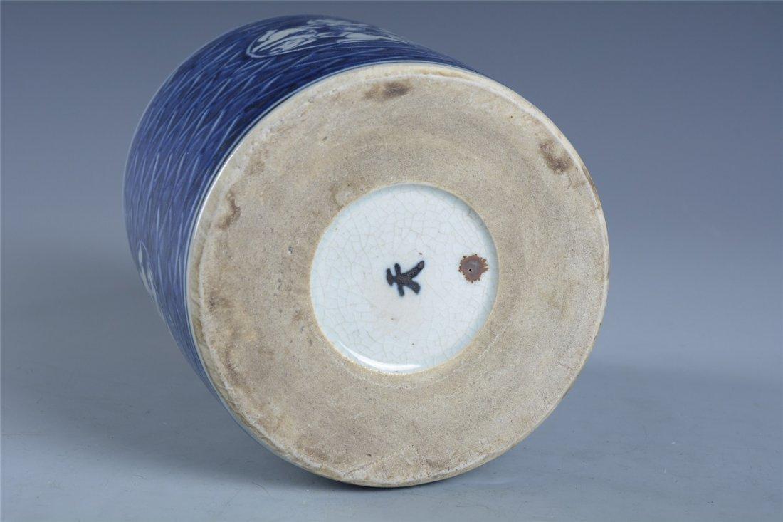 Blue and white boy play hydrangea pen holder - 9