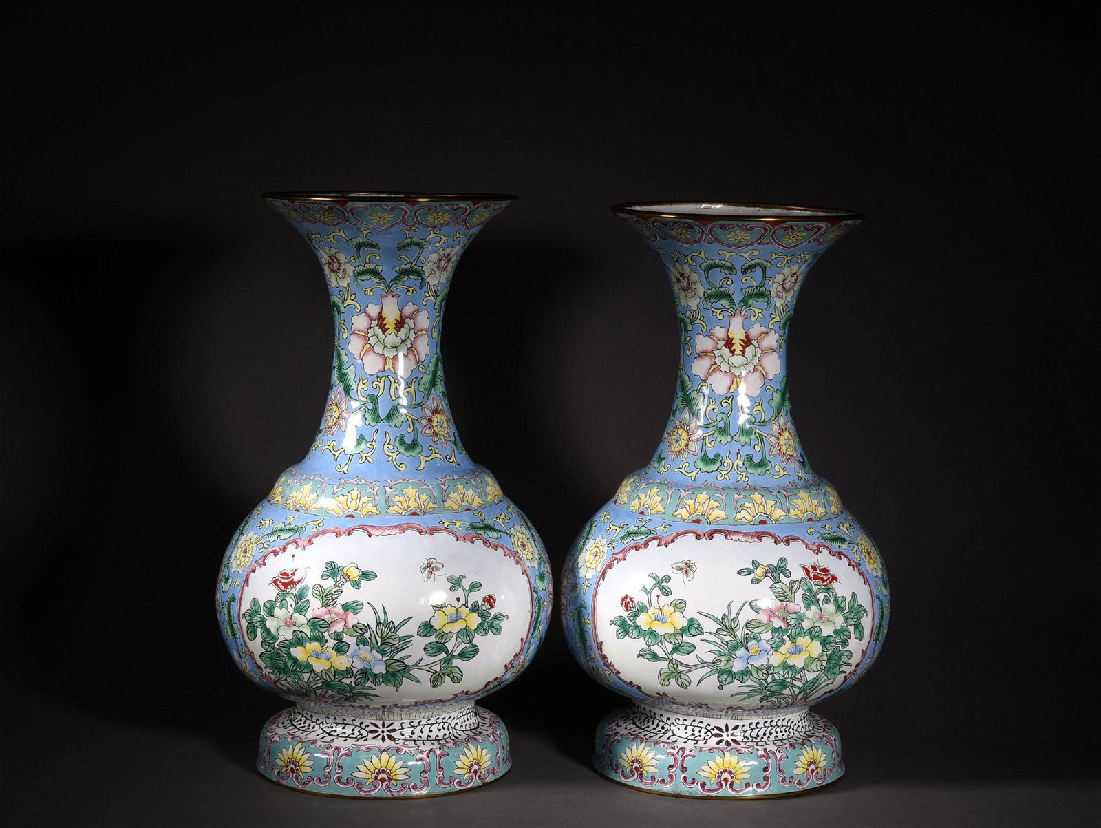 A PAIR OF PAINTED ENAMEL VASES, 19TH CENTURY