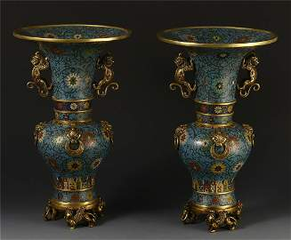 A PAIR OF CHINESE CLOISONNE DOUBLE BEAST HANDLE FLOWER