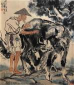 CHINESE HAND PAINTED SCROLL OF OLD MAN AND OX SIGNED BY