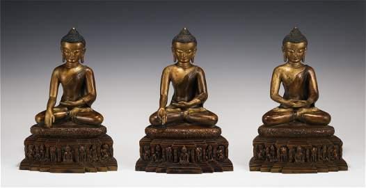 CHINESE GILT BRONZE STATUS OF RATNATRAYA BUDDHAS