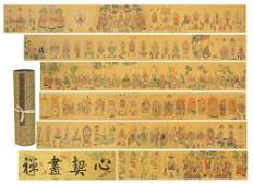 CHINESE PAINTING HANDSCROLL OF BUDDHIST FIGURES