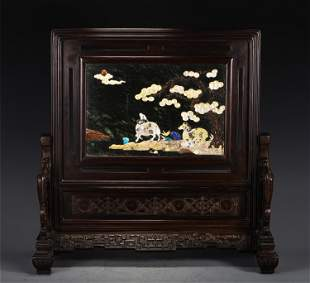A CHINESE CARVED HARDWOOD TABLE SCREEN WITH INLAIDED