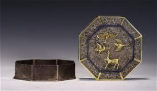 A CHINESE GILT SILVER OCTAGONLA BOX WITH COVER