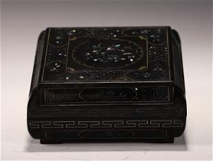 A CHINESE LACQUER BOX AND COVER WITH MOTHER OF PEARL