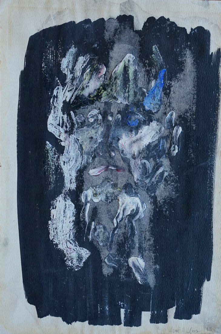 Illegibly Signed Mid Century Oil On Paper Face Abstract