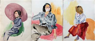 3 Large Watercolor Portraits Of Woman PA Artist