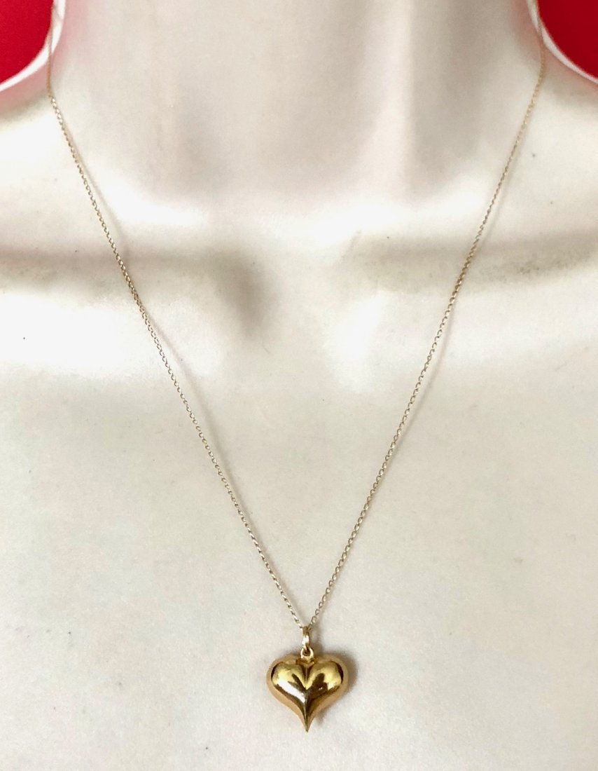 "14kt Gold Heart Pendant Necklace 18"" 1.3 Grams"
