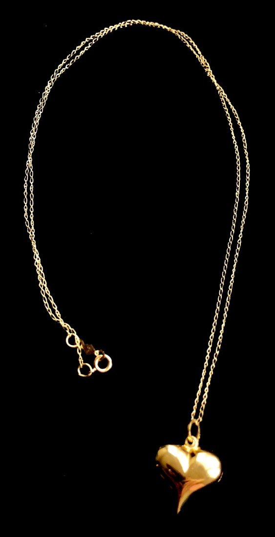 "14kt Gold Heart Pendant Necklace 18"" 1.3 Grams - 2"