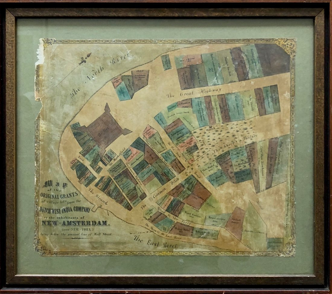 Hand Colored Antique Map Of New Amsterdam (New York)