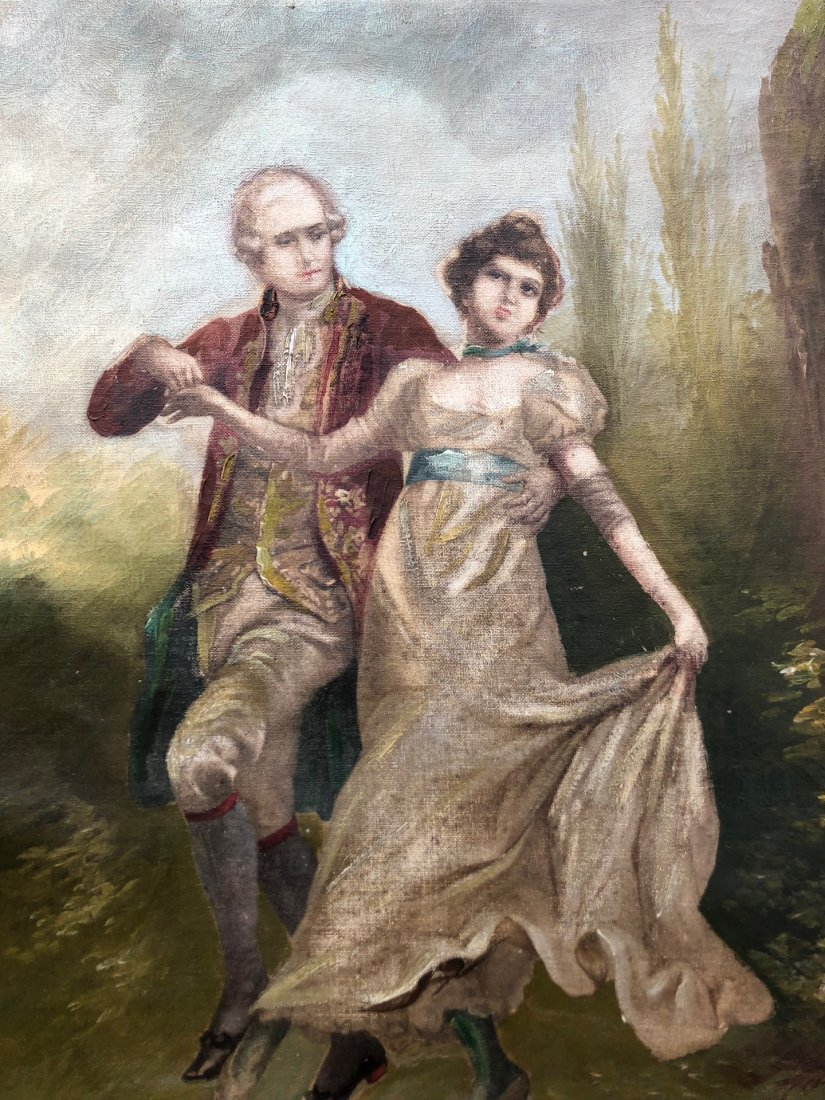19th Century American Courting Scene Signed Melri