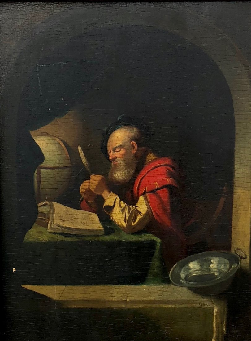 Signed G. Dov Old Master Painting Of Galileo Galilei