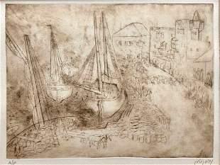 NACHUM GUTMAN (Israel 1898-1990) Modernist Marine Scene